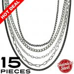 This Package contains 15 Pieces of Assorted Necklaces, 3 Pieces x 5 Types of Chains   Please Note, This Package Is Pre-Packaged According To Style Availability!