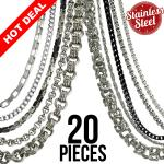 This Package contains 20 Pieces of Assorted Necklaces, 2 Pieces x 10 Types of Chains 