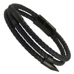 Black Leather Bracelet Black Nails and Magnetic Clasp