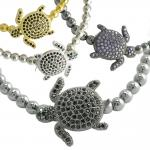 Beaded Bracelet with Cubic Zirconia Adorned Turtle Charm