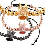 Macramé Beaded Bracelet with Rose Gold Micro Pave Jeweled Crown