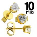 Wholesale 10 Clear Heart Shape Studs with Gold PVD Post