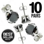Wholesale 10 pairs of Stainless Steel Black Round CZ Ear Stud