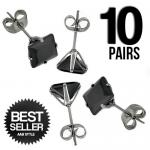 Wholesale 10 Stainless Steel Black CZ Ear Stud
