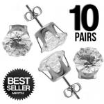 Wholesale 10 pairs of Stainless Steel Round CZ Ear Stud