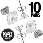 Wholesale 10 Stainless Steel Square CZ Ear Stud