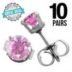 Wholesale 10 Pink Round CZ Ear Studs with Stainless Steel Post