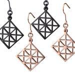 Women's, Black, Steel, Rose Gold, Earrings, geometric Pattern.