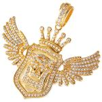 Gold Color Micro Pave Jeweled Jesus on a Shield Pendant