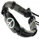 Peace Sign Leather Bracelet