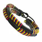 Double Stranded Multi Colored Leather Bracelet