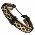 Multi-Colored Brown Leather Bracelet