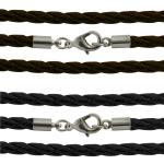 Braided Leather Necklace with Lobster Clasp