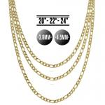 Gold Tone Stainless Steel Figaro Chain