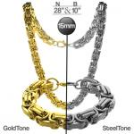 Extra Large  Gold PVD Byzantine set of Chain and Bracelet