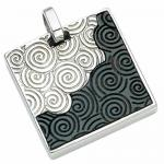 Stainless steel and leather pendant