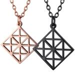 Women's, Rose Gold, Black, Steel, Pendant geometric Pattern.