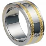 Stainless Steel Ring with 18K Gold Coating and Diamonds - Unisex
