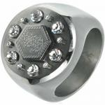 X-LARGE Wide Stainless Steel Ring With Dollar Sign and Crystal Stones