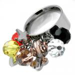 Stainless Steel Comfort Fit Ring with Dangling Charms and Beads