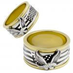 Stainless Steel Two Tone USA Eagle Ring Spinner
