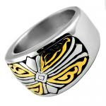 Stainless Steel Ring With Gold PVD Tribal Design
