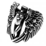 Winged Female Woman on a Cross Ring