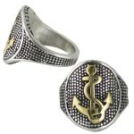 Stainless Steel with Gold PVD Anchor Ring