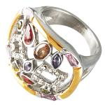 Vintage Ring with Color Stones in Steel