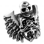 Stainless Steel Skull Skeleton w/ Wings and Jet CZ Ring