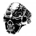 Stainless Steel Wide Skull Ring