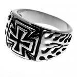 Stainless Steel Biker Ring w/ Maltese Cross and Flame Design