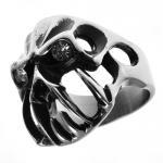 Stainless Steel Gothic Skull Ring w/ CZ Eyes