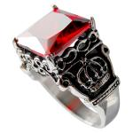 Stainless Steel, Red, Ruby, Ring, Royal Crown, Sides Square Cast.