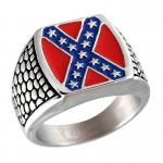 Stainless Steel Signet Ring with Stars & Bars Design