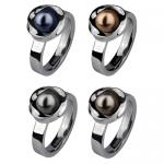 Ravishing Stainless Steel Ring With Center Simulated Pearl