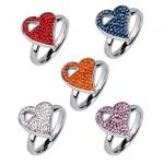 Stainless Steel Heart Ring With CZ Encrusted Stones
