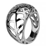 Stainless Steel Dome Shaped Ring With Spider Web Cut Out Design