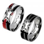 Stainless Steel Cut-Out Stars Design Ring with Colored Strips