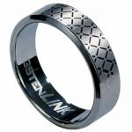 Tungsten Carbide ring with laser-made diamond-shape design