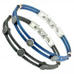 Stainless Steel Cable Bracelet W/ Boat Rudder Accents