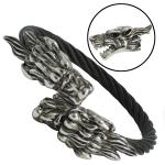 Black Stainless Steel Cable Bangle with Double Dragon Heads