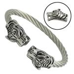 Stainless Steel Cable Bracelet with Double Tiger Heads