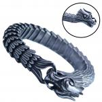 Stainless Steel Gun Metal Colored Dragon Scale Bracelet with Dragon Head Clasp