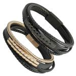 Black Leather Braided Rope and Stainless Steel Design Bar with Magnetic lock