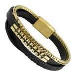 Triple Black Leather Bracelet with Gold PVD Steel Bar and Wheat Chain