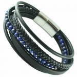Multi-String Leather & S.Steel Bracelet W/ Blue Macrame Beads