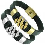 Leather W/ Stainless Steel Accent Bracelet