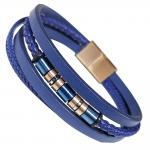 Blue Multi String Leather Bracelet With Rose Gold Accents