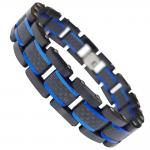Black PVD w/ Blue Stainless Steel Bracelet w/ Carbon Fiber